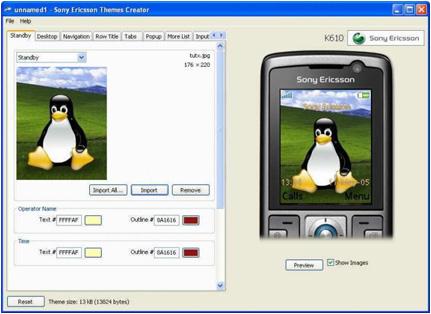 Themes creator:programa para crear temas para sony ericsson