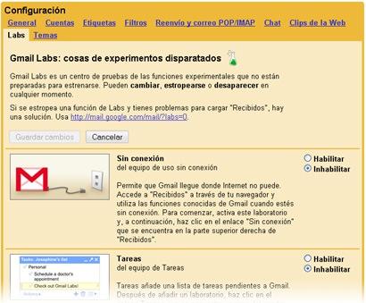 Gmail Labs funcionando