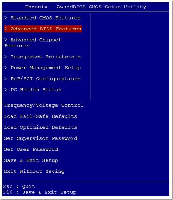 Advanced BIOS Features de la Award Modular BIOS