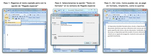 Pegado especial para eliminar hipervínculos de documentos Word