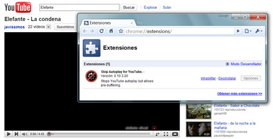 Quitar auto-reproducción en Youtube (Google Chrome)