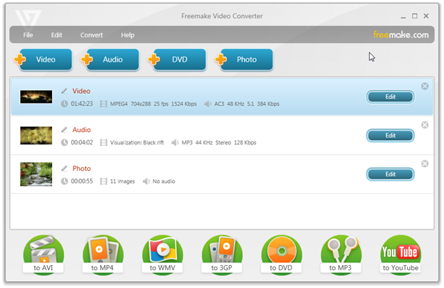 conversor de videos freemake para iPad, iPhone, iPod, PSP, Xbox, Blackberry,android,youtube,celulare