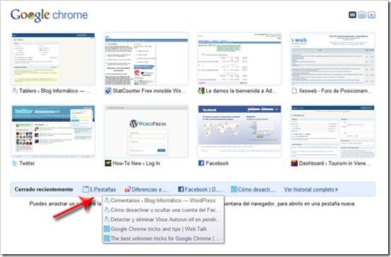Google Chrome: Recuperar pestañas abiertas al cerrar