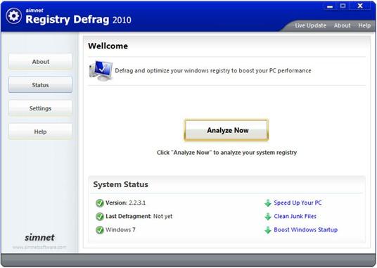 Simnet Registry Defrag