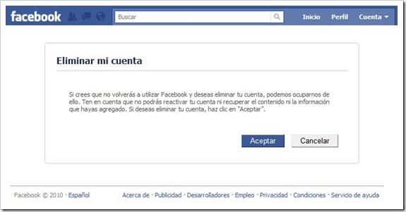 Eliminar cuenta del Facebook