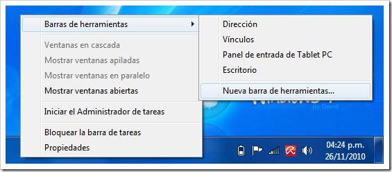Barras de herramientas Windows 7