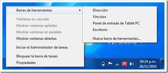 Crear barra de herramienta en Windows 7