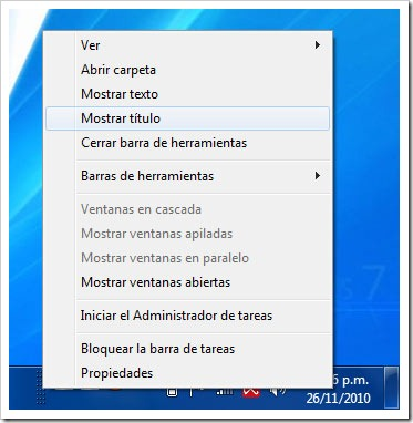 Personalizar barra de herramienta en Windows 7