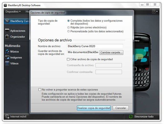 Backup con BlackBerry Desktop Software