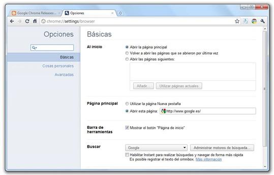 Google Chrome 10 - Nueva interfaz de Opciones