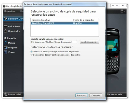 Restaurar copia de seguridad de BlackBerry