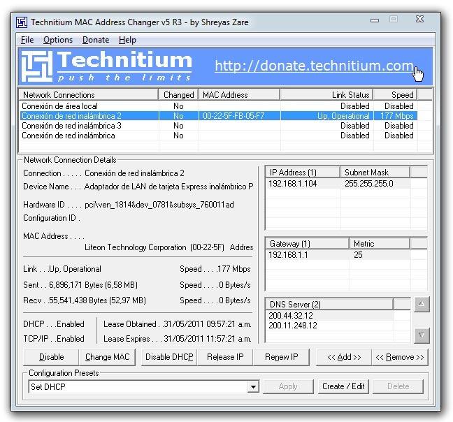WatFile.com Download Free Cambiar dirección MAC en Windows con Technitium MAC Address Changer