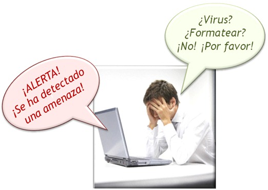 Alerta de virus en Windows - Hombre preocupado