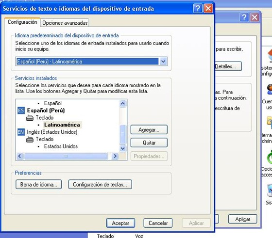 Configuración del teclado en Windows XP