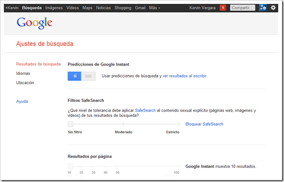Desactivar filtro SafeSearch de Google