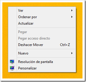 Menú contextual en Windows 8